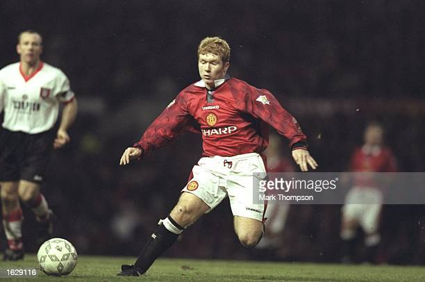 Paul Scholes of Manchester United in action during an FA Carling Premiership match against Sunderland at Old Trafford in Manchester England...