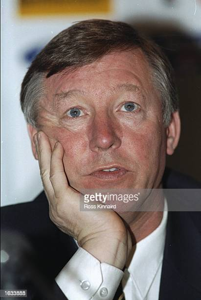 Portrait of Manchester United Manager Alex Ferguson after the Champions League match against Rapid Vienna in Vienna Austria Manchester United won the...