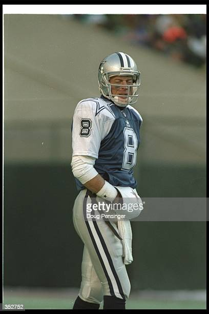 Quarterback Troy Aikman of the Dallas Cowboys looks on during a game against the Philadelphia Eagles at Veterans Stadium in Philadelphia Pennsylvania...