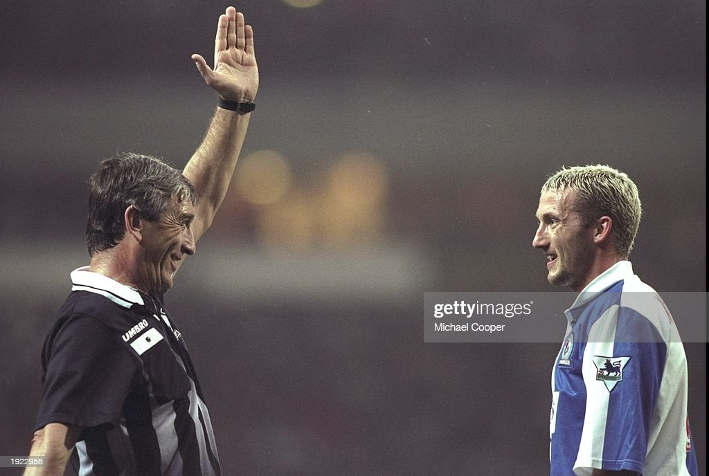 Billy McKinlay of Blackburn Rovers comes face to face with referee Gerald Ashby during the FA Carling Premiership match at Ewood Park in Blackburn, England. Blackburn Rovers won 3-0. \ Mandatory Credit: Mike Cooper /Allsport
