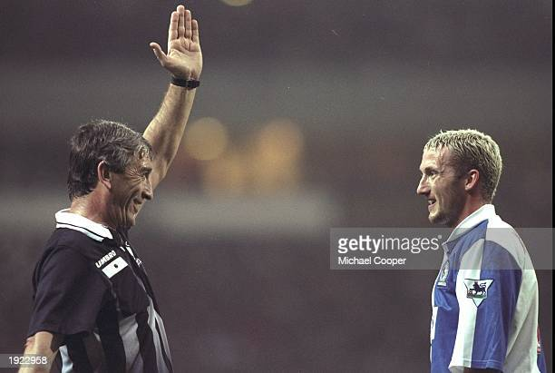 Billy McKinlay of Blackburn Rovers comes face to face with referee Gerald Ashby during the FA Carling Premiership match at Ewood Park in Blackburn...