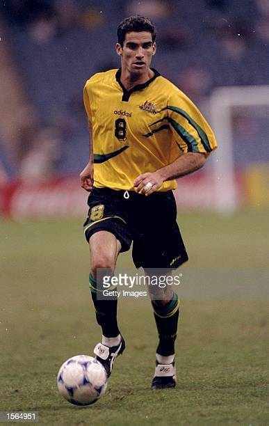 Craig Foster of Australia on the ball during a Confederations Cup match against Uruguay at the King Fahd Stadium in Riyadh Saudi Arabia Australia won...