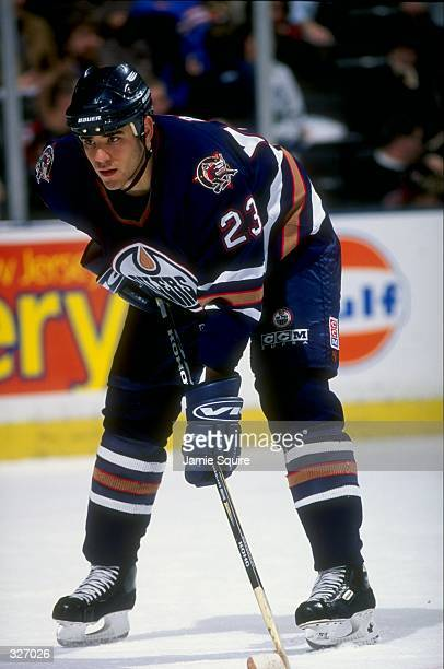 Defenseman Sean Brown of the Edmonton Oilers in action against the New Jersey Devils during a game at the Continental Airlines Arena in East...
