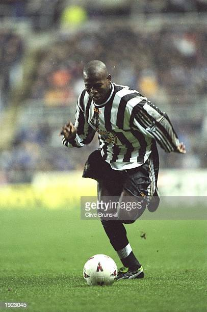 Faustino Asprilla of Newcastle United in action during the FA Carling Premiership match against Derby County at St James Park in Newcastle England...
