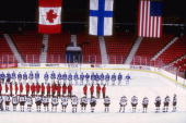 General view of the teams prior to the 3 Nations Cup Championship game between Canada and the United States at the 1980 Rink L in Lake Placid New...