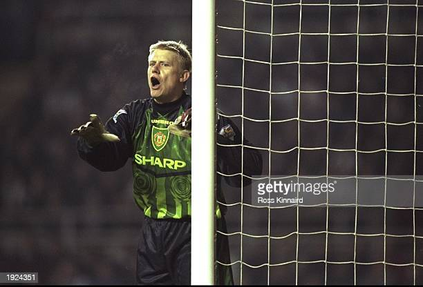 Peter Schmeichel of Manchester United controls his defence from the near post during the FA Carling Premiership match against Newcastle United at St...