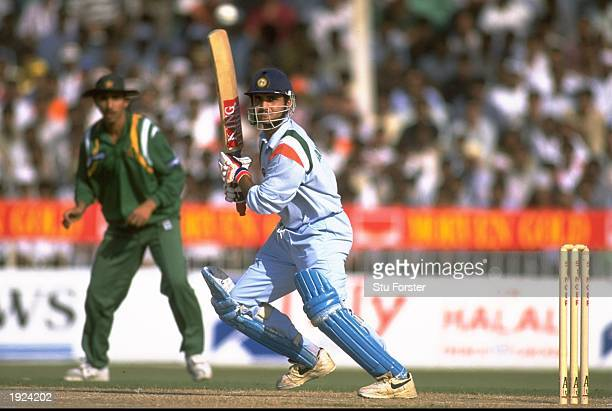 Sovrav Ganguly of India in action during the Singer Champions Trophy match against Pakistan in Sharjah United Arab Emirates Mandatory Credit Stu...
