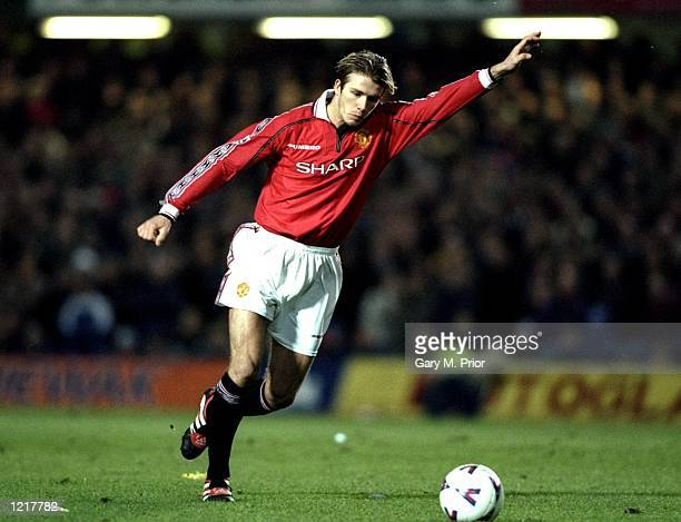David Beckham of Manchester United takes a freekick during the FA Carling Premiership match against Chelsea played at Stamford Bridge in London...