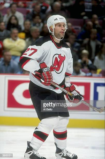 Defenseman Scott Niedermayer of the New Jersey Devils in action against the Philadelphia Flyers at the Continental Airlines Arena in East Rutherford...