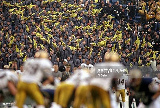 General view of Army fans in the stands during the game between the Army Cadets and the Navy Midshipmen at Veterans Stadium in Philadelphia...