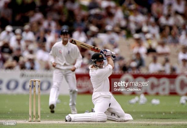 Michael Slater of Australia in action during the Third Ashes Test against England at the Adelaide Oval in Adelaide Australia Australia retained the...