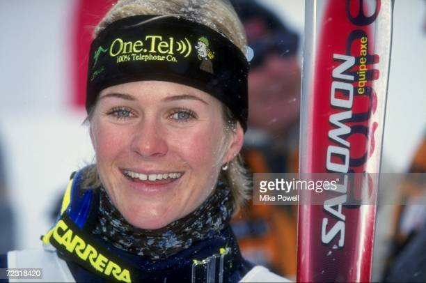 Zali Steggall of Australia celebrates her second place in the Women''s Slalom during the 1998 Ski World Cup at Mammoth Mountain in Mammoth California...