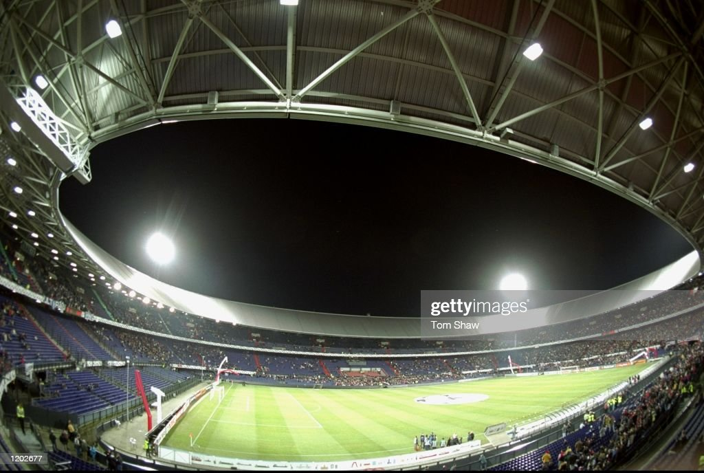 A general view of the De Kuip Stadium in Rotterdam Holland during the UEFA Champions League match between Feyenoord and Marseille Feyenoord went on...