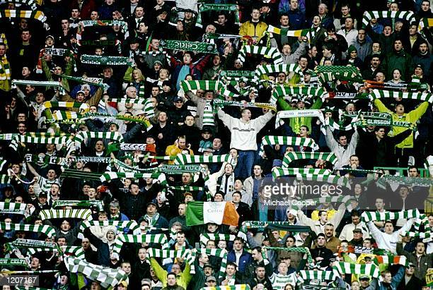 Celtic fans during the Scottish Premier League match against Rangers at Celtic Park in Glasgow Scotland The game ended 11 Mandatory Credit Michael...