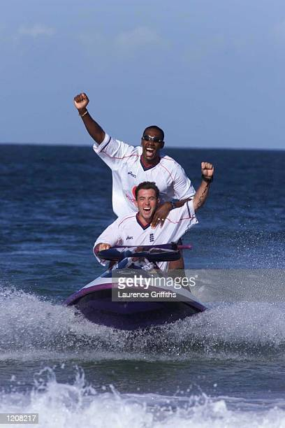 Chris Silverwood and Alex Tudor of England on a jet ski ahead of the second Test match against South Africa in Port Elizabeth South Africa Mandatory...