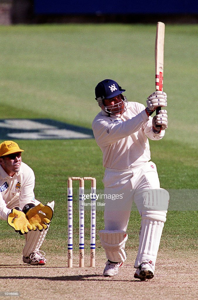 Darren Berry of Victoria on his way to 83, with Ryan Campbell of Western Australia looking on, on day one of the Pura Milk Cup match between Victoria and Western Australia, played at the Melbourne Cricket Ground, Melbourne, Australia. Mandatory Credit: Hamish Blair/ALLSPORT