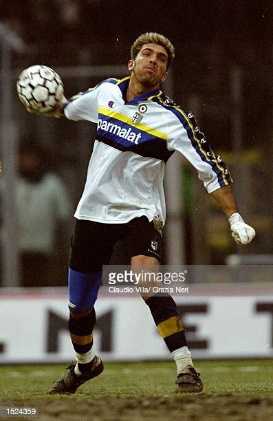 Gianluigi Buffon of Parma in action during the Serie A match against Roma at the Stadio Tardini in Parma Italy Parma won the match 20 Mandatory...