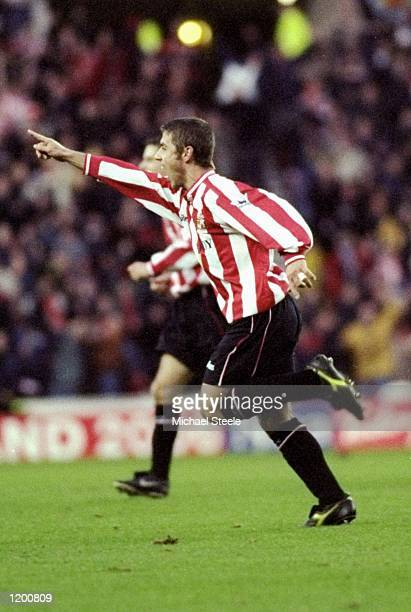 Kevin Phillips of Sunderland celebrates a goal against Chelsea during the FA Carling Premiership match at the Stadium of Light in Sunderland England...