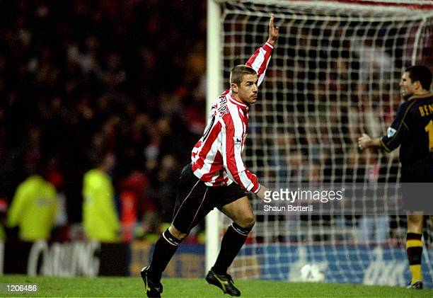 Kevin Phillips of Sunderland celebrates a goal during the FA Carling Premier League match against Southampton played at the Stadium of Light in...