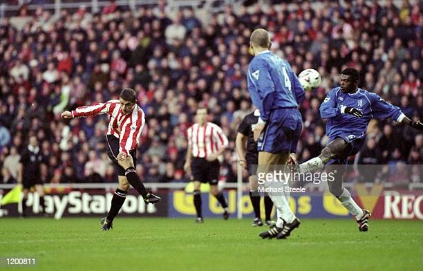 Kevin Phillips of Sunderland scores his first against Chelsea during the FA Carling Premiership match at the Stadium of Light in Sunderland England...