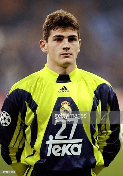 Portrait of Casillas Iker of Real Madrid lining up to face Rosenborg in the UEFA Champions League group C match at the Bernabeu Stadium in Madrid...