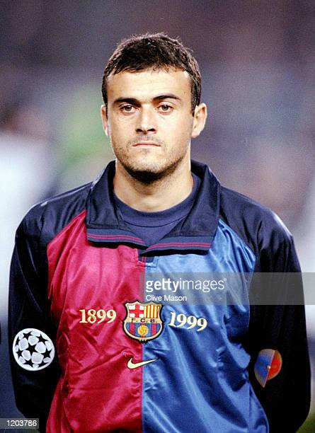Portrait of Luis Enrique of Barcelona lining up to face Sparta Prague in the UEFA Champions League group A match at the Nou Camp in Barcelona Spain...
