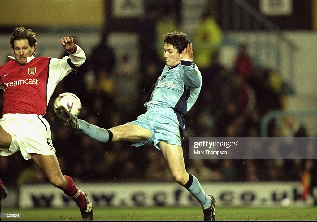 Robbie Keane of Coventry City scores his 71st minute goal during the FA Carling Premier League match against Arsenal played at Highfield Road in...