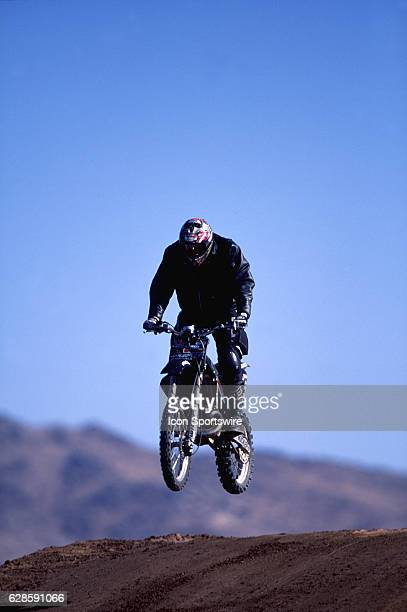 Seth Enslow warms up for an attempt at a record setting motorcylce jump in Apple Valley California Enslow crashed on the attempt and was critically...