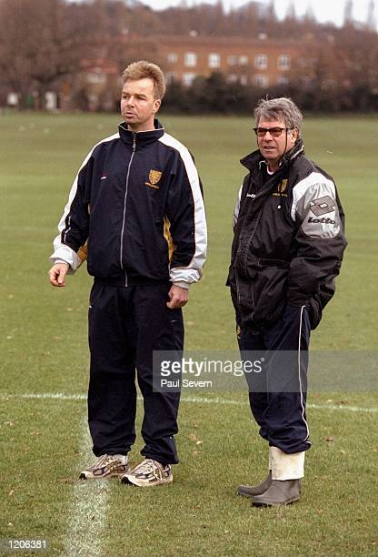 The Wimbledon assistant coach Lars Tjernaas and head coach Egil Olsen during a training session held at Richardson Evans Ground in London England...