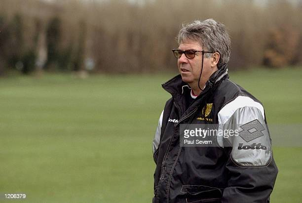 The Wimbledon coach Egil Olsen during a training session held at Richardson Evans Ground in London England Mandatory Credit Paul Severn /Allsport