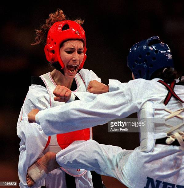 Virgina Lourens of the Netherlands and Snia Reyes Saez of Spain during the Womens 57kg class at the WTF International Invitation Taekwondo a SOCOG...