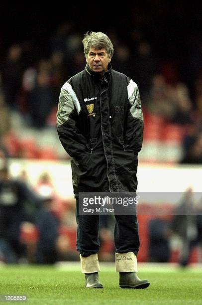 Wimbledon manager Egil Olsen sports his wellies during the FA Carling Premier League match against Arsenal played at Highbury in London The game...