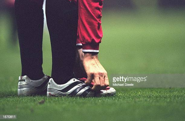 David Beckham of Manchester United boots during the FA Carling Premiership match against Ipswich Town played at Old Trafford in Manchester England...