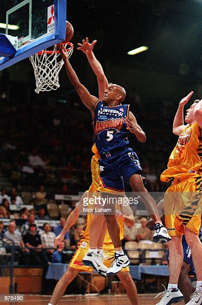 Derek Rucker of the Sydney Razorbacks in action against the Melbourne Tigers during the NBL game at the State Sports Centre in Sydney Australia...