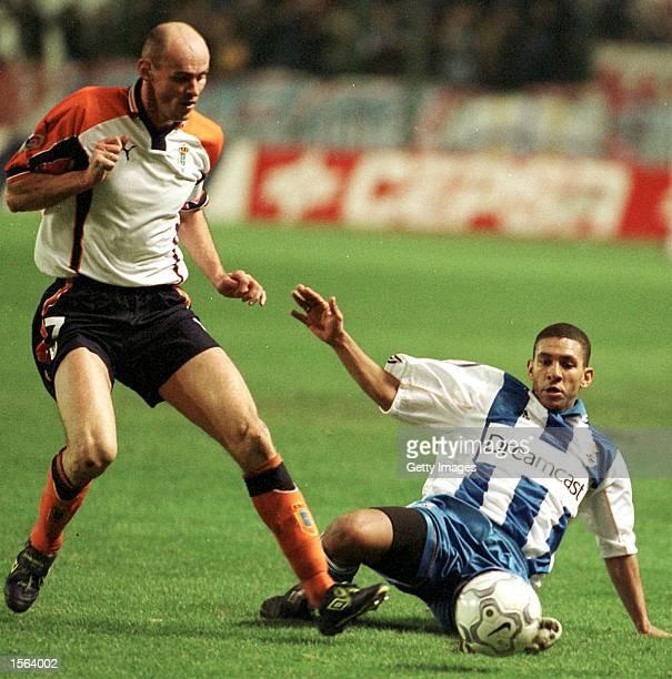 Djalminha of Deportivo and Victor Onopko of Oviedo challenge for the ball during the Primera Liga match between Deportivo La Coruna and Oviedo played...