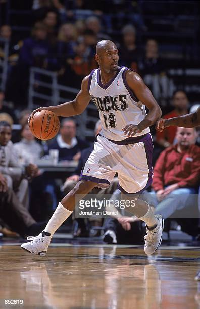 Glenn Robinson of the Milwaukee Bucks moves with the ball during the game against the Indiana Pacers at the Bradley Center in Milwaukee Wisconsin The...