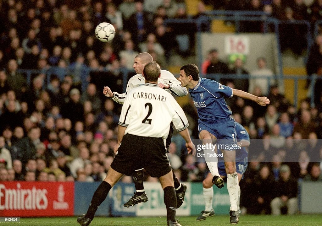 Gustavo Poyet heads home Chelsea's third goal during the FA Carling Premier League match against Derby County played at Stamford Bridge in London. Chelsea won the game 4-1. \ Mandatory Credit: Ben Radford /Allsport
