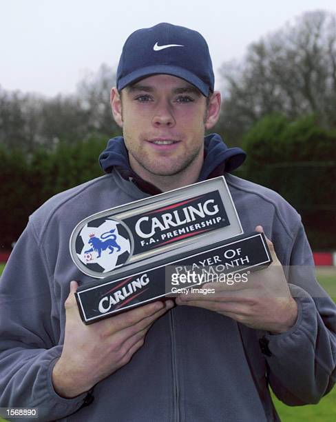 James Beattie of Southampton with his Carling Player of the Month award Mandatory Credit Allsport/Allsport