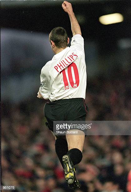 Kevin Phillips of Sunderland celebrates during the FA Carling Premier League match against Arsenal played at Highbury in London The game ended in a...