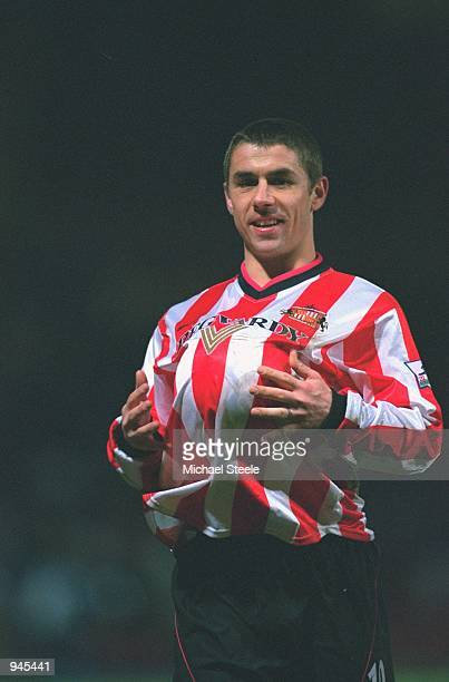 Kevin Phillips of Sunderland celebrates his hattrick by putting the matchball up his shirt after the FA Carling Premiership match against Bradford...