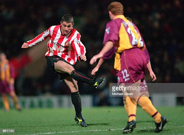 Kevin Phillips of Sunderland shoots during the FA Carling Premiership game against Bradford City at Valley Parade in Bradford England Sunderland won...