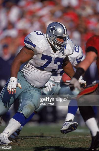 Larry Allen of the Dallas Cowboys moves into position during the game against the Tampa Bay Buccaneers at the Raymond James Stadium in Tampa Florida...