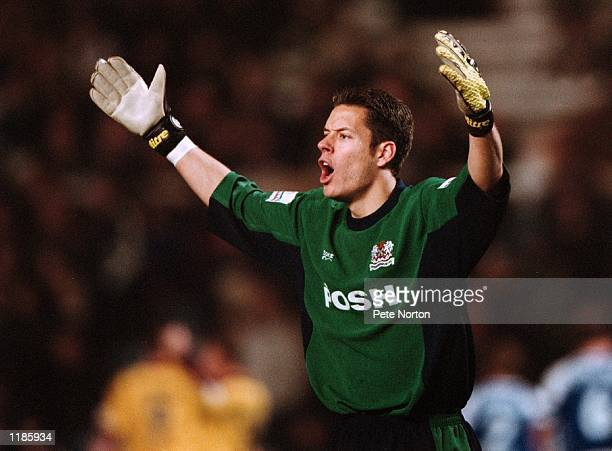 Mark Tyler of Peterborough United in action during the Nationwide League Division Two match against Northampton Town played at London Road in...