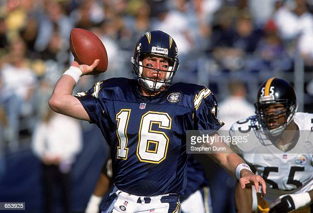 Quarterback Ryan Leaf of the San Diego Chargers passes the ball during the game against the Pittsburgh Steelers at Qualcomm Stadium in San Diego...