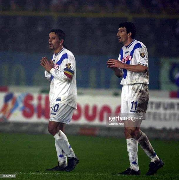 Roberto Baggio and Dario Hubner of Brescia during the match between Brescia v Napoli in the Serie A played at the Rigamonti stadium Brescia Italy...