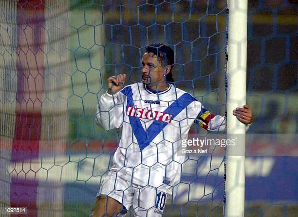 Roberto Baggio of Brescia in action during the match between Brescia v Napoli in the Serie A played at the Rigamonti stadium Brescia Italy Digital...