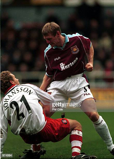 Stuart Pearce of West Ham and Jonatan Johansson of Charlton during the FA Carling Premiership game between West Ham United and Charlton Athletic at...