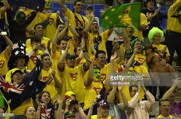 The Australian crowd cheer Lleyton Hewitt of Australian during the first rubber against Albert Costa of Spain at The Davis Cup Final between Spain...