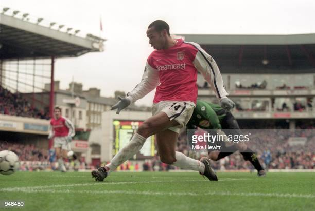 Thierry Henry completes his hattrick for Arsenal during the FA Carling Premier League match against Leicester City played at Highbury in London...