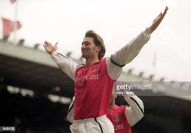 Tony Adams celebrates his goal for Arsenal during the FA Carling Premier League match against Leicester City played at Highbury in London Arsenal won...